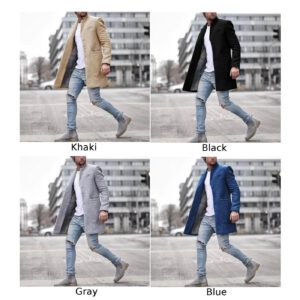 ZOGAA Men's Overcoats Vintage Casual Lapel Coat Solid Long Sleeve Slim Single-breasted Pockets Wool Blends High Quality Men Coat