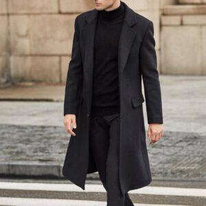 Men Wool Jacket Blends Coats Autumn Winter Long Jackets Men's Clothing Solid Windbreaker Outwears Fashion Male Overalls LM047