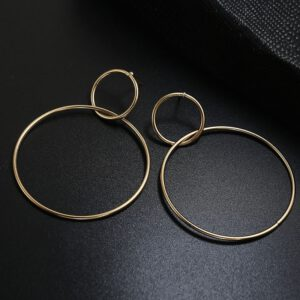 Long Hanging Earrings for Women Round Gold Color