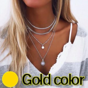 Necklaces Jewelry Long Womans Chain Necklace Water Drop Jewellery Ladies Geometric Lovers Silver Color Bohemia Alloy Halskette