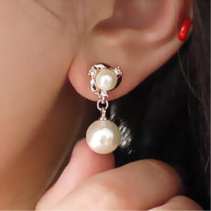 Exquisite Simulated Pearl Stud Earrings Fashion Long Statement Earrings for Womenn Party Wedding Female Jewelry Gift