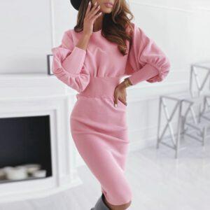 Long Lantern Sleeve Women Office Dress Bodycon Ladies Midi Dress Ol Autumn Winter Pink Black Female Trumpet Pencil Dress D30