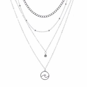 Necklace Women Rhinestone Woman Necklaces Lovers Silver Color Trendy Girl Wave Zinc Alloy Fashion Lady Womens Neck Chain Collier