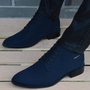 Autumn Winter Men Boots Breathable Pointed Toe Business Leather Boots Fashion Canvas High-Top Men Shoes Casual Zapatos Hombre