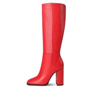 MORAZORA Plus size 34-43 New women boots zipper thick high heels simple thick high heels autumn winter boots knee high botas