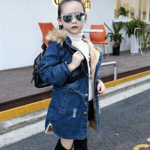 Jacket For Girls Denim Jacket Girl Full Length Children's Coat With Fur Hoodies Autumn Teenage Children's Costumes For Girls