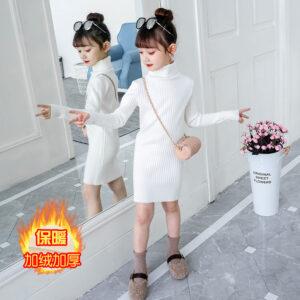 New 2020 Autumn Winter Kids Girls Children Warm School Long Turtleneck Knitted Sweater Dress For Teens Girls Princess Dress W829
