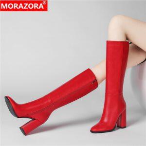 MORAZORA Plus size 34-43 New women boots zipper thick high heels simple thick high heels autumn winter boots knee high botas