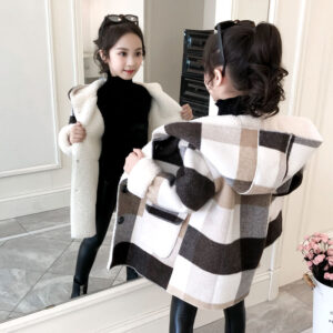 MudiPanda Autumn Winter Girls Coat Fashion Long Section Little Girl Plaid Thick Lamb Woolen Coat Children Woolen Coat 2020 New