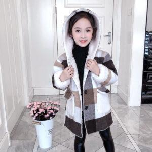 MudiPanda Autumn Winter Girls Coat Fashion Long Section Little Girl Plaid Thick Lamb Woolen Coat Children Woolen Coat 2020 New