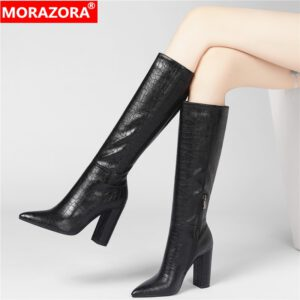 MORAZORA Plus size 34-43 New 2020 Women Boots Thick High Heels Winter Knee High Boots Female Pointed Toe Fashion Zipper Shoes