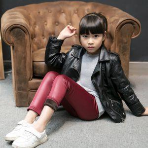 Warm Winter Girls Leggings Faux Leather PU Skinny Thick Velvet Kids Pants Trousers for Girl Leggins Bambina Getry Pantalones