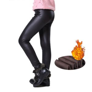 Warm Winter Girls Leggings Faux Leather PU Skinny Thick Velvet Kids Pants Trousers for Girl Leggins Bambina Getry Pantalones
