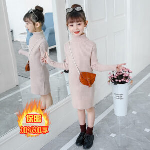New 2020 Autumn Winter Kids Girls Children Warm School Long Turtleneck Knitted Sweater Dress For Teens Girls Princess Dress W829