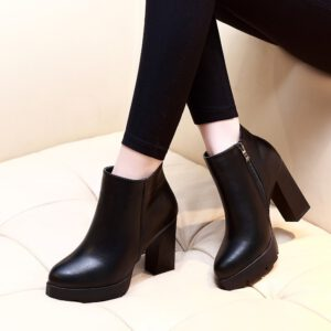 2020 New Fashion Womens Round Toe Soft Leather Ankle Boots Sexy Stiletto High Heels Women Autumn Boot Shoes Black CH-A0046