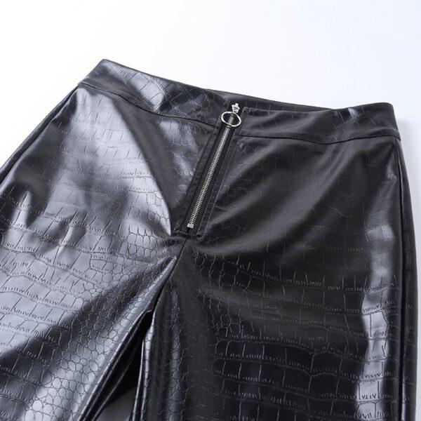 InstaHot Elegant High Waist Faux Leather Pants Women Pencil Skinny Pants Office Ladies Trousers Casual Slim Black Capris 2019