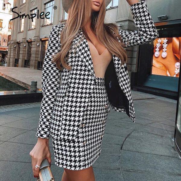 Simplee Fashionable Plaid women's suit two piece Office women's long sleeve short skirt suit Autumn single button suit 2020 new