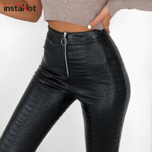 InstaHot Elegant High Waist Faux Leather Pants Women Pencil Skinny Pants Office Ladies Trousers Casual Slim Black Capris 2019