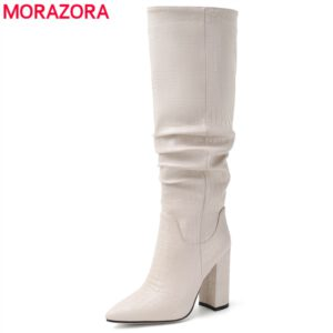 MORAZORA 2020 Brand New Women Boots Thick High Heels Knee High Boots Pointed Toe Autumn Winter Ladies Boots Pleated Fashion Shoe