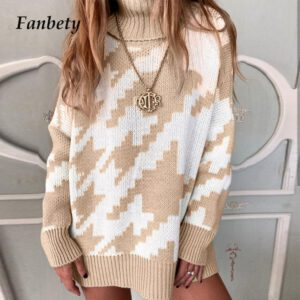 Elegant Autumn Winter Turtleneck Sweaters Vintage Geometric Houndstooth Print Pullover Top Women Casual Long Sleeve Knit Sweater