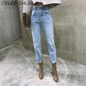 SHIJIA High Waist Denim straight jeans Woman light blue vintage boyfriend Loose denim trousers woman mon street Ladies Jean 2020
