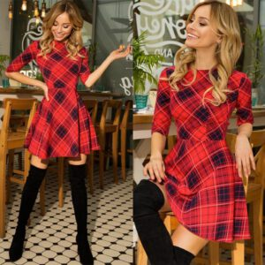 2020 New Winter Xmas Red Plaid Dress 3/4 Sleeve Scottish Plaid Slim Dress Cotton Plaid Mini Christmas Dress Party Vestidos D30