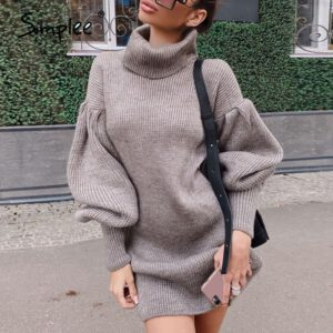 Simplee Elegant high neck knitted dress Loose Lantern Sleeve straight tube Dress 8 color sexy office dress Autumn winter 2020