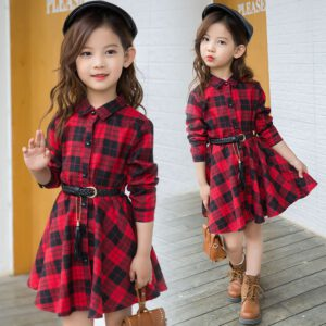 2018 Elegant Girls Casual Long Sleeve Plaid Shirt Dress With Belt Fashion Teenager Blouse Dresses 4 5 6 7 8 9 10 11 12 13 Years