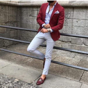 Custom Mens Suits Burgundy Red Suit Blazer Men Tuxedo Suit Jacket Men Suits for Wedding Slim Fit 2 Piece with Pants
