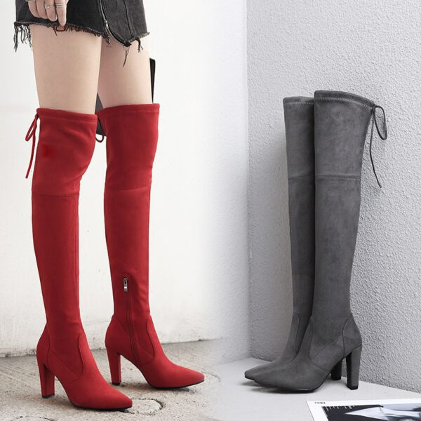 BORRUIC 2020 Sexy Party Boots Fashion Suede Leather Shoes Women Over the Knee Heels Boots Stretch Flock Winter High Boots Female