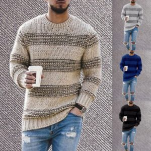 Sweater Men 2020 New Winter Youthful Men's Round Neck Stripe Loose Type Warm Long Sleeve Knitted Sweater Men