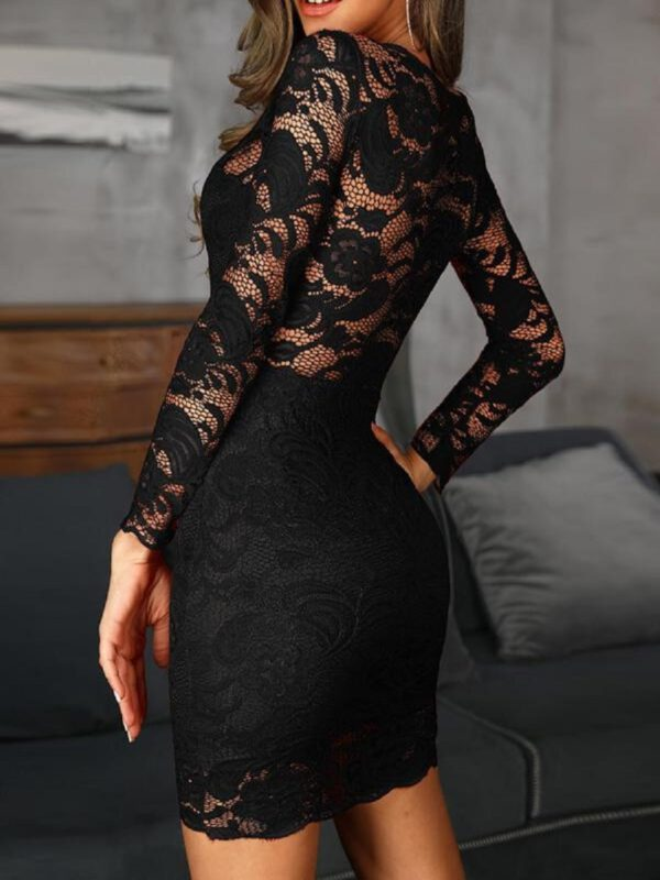 First song Women's Tight Lace Sexy Mini Dress 2020New Summer Black Long Sleeve O-Neck Party Retro Elegant Lace Women's Dress XL