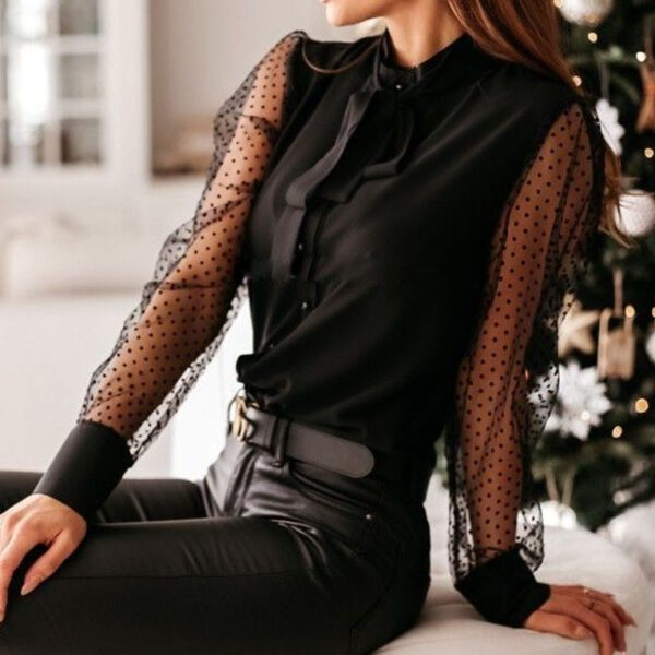 Women Elegant Dot Lace Patchwork Blouse Shirt Autumn See-Through Mesh Long Sleeve Pullover Tops Office Lady Bow-Knot Solid Blusa
