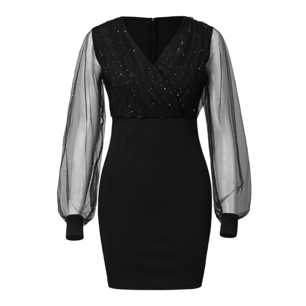 Women's Casual Bodycon V-neck Mesh Long Sleeve Mini Club Dress Sequined Patchwork Elegant Party Dress Drop Shipping