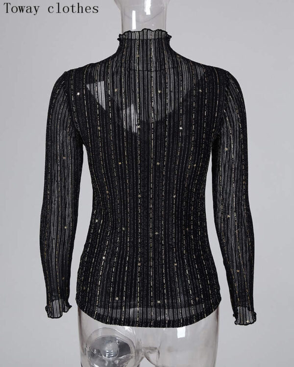 Glitter Mock Neck Mesh Casual Blouse Casual Solid Long Sleeve See Through Top Women Sexy TShirt Plus Size