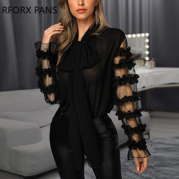 Scarf Neck Long Sleeve Blouse Womens Tops and Blouses