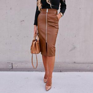 Brown Black PU Leather Skirt Women Midi High Waist Bodycon Split Skirt Office Pencil Skirt Front Zipper Faux Leather Midi Skirt