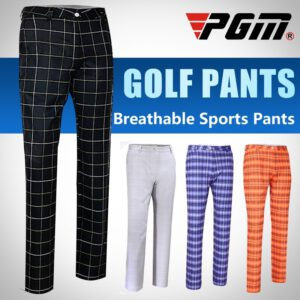 Pgm Men's Golf Pants Summer Plaid Elastic Trousers Ultra-thin Slim Sportswear Trousers Straight Breathable Golf Costume