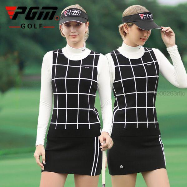 PGM Women Golf Clothing Set Knitted Warm Sports Skirts Set Ladies Plaid Vest Shirts Slim Fit Pencil Skirts Golf/Tennis Clothes