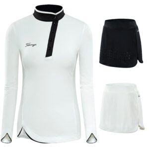 Women Skort Golf Skirt Sets Spring Autumn Sportswear Long Sleeve Shirts Ladies Slim Badminton Sports Golf Apparels