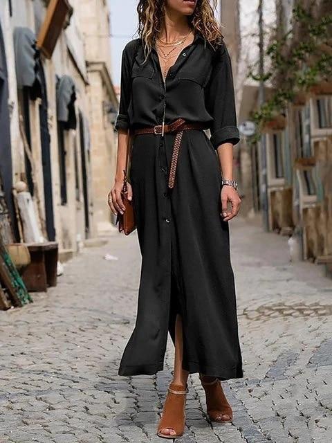 New Hot Fashion Button Long Dress Elegant Women Dresses Casual Work Dress Plus Size Pocket Slim Black Dresses Women Long Sleeves