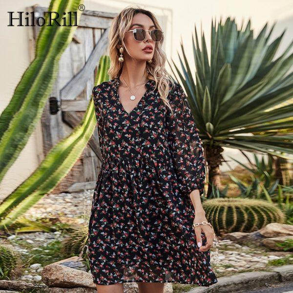 HiloRill Women Floral Print Chiffon Dresses 2021 Bow Tie V Neck Holiday Beach Mini Dress Boho Puff Sleeve Loose Casual Dress