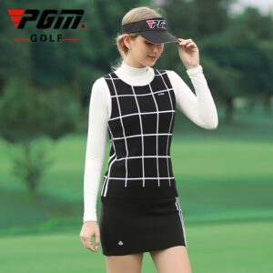 PGM Women Golf Clothing Set Knitted Warm Sports Skirts Set Ladies Plaid Vest Shirts Slim Fit Pencil Skirts Golf/Tennis Clothes