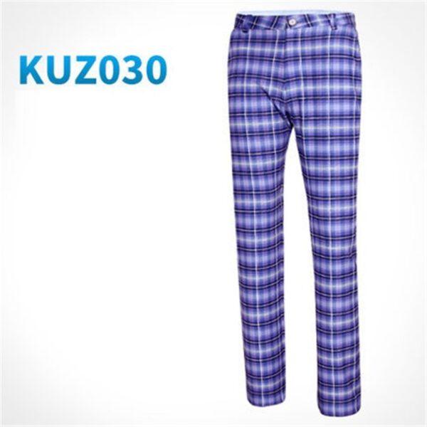 Pgm Men's Golf Pants Summer Plaid Elastic Trousers Ultra-thin Slim Sportswear Trousers Straight Breathable Golf Costume