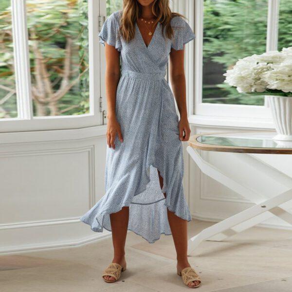 Aachoae Summer Beach Dress Women Floral Print Long Bohemian Dress Short Sleeve Boho Style Maxi Dress Ruffles Sundress Vestidos