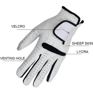 1pcs Men Golf Gloves Leather Soft Glove Adjustable Breathable for Left-Handed Right-Handed EDF88