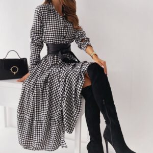 40# Women's Long Sleeve Plaid Turn-down Collar Dresses Button Mid-Claf Dress + Belt temperament A-Line Dresses женское платье