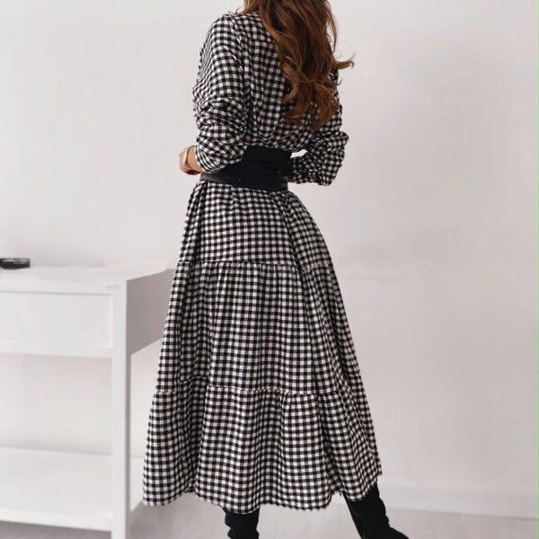 40# Women's Long Sleeve Plaid Turn-down Collar Dresses Button Mid-Claf Dress + Belt temperament A-Line Dresses женское платье