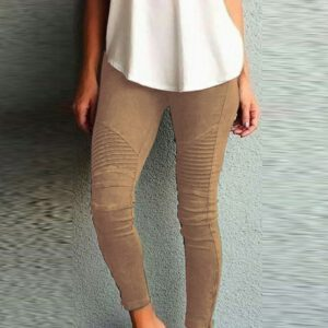 Women Solid Pencil Pants Spring Elegant Pleated Skinny Slim Women Trouser Summer Fashion Casual Stretchy Elastic Ladies Pant