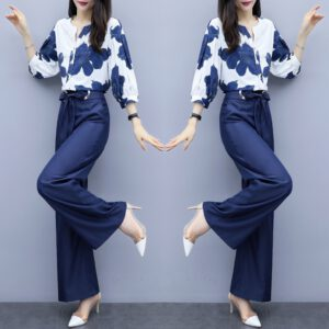 Spring Summer Chiffon Floral Print Two Piece Sets Women Blouses And Wide Leg Pants Suits Elegant Fashion Office Ladies Outfits